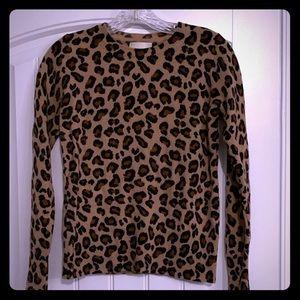 "Cynthia Rowley ""Leopard"" Cashmere Sweater"